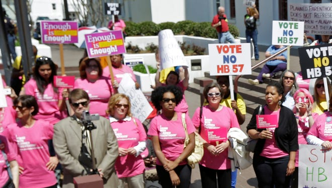 Crowds gather for a pro-choice rally at the Alabama Statehouse in Montgomery on Apr. 2.