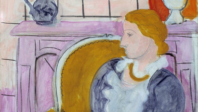 """This undated image released by Henie Onstad Kunstsenter on Friday shows part of the painting """"Blue Dress in an Yellow Arm Chair"""", circa 1936 by Henry Matisse."""