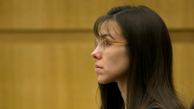 Defendant Jodi Arias listens during redirect of Alyce LaViolette, a domestic violence expert, during trial at Maricopa County Superior Court in Phoenix.
