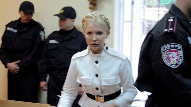 Former Ukrainian Prime Minister Yulia Tymoshenko during a trial hearing at the Pecherskiy District Court in Kiev, Ukraine, in this file photo dated Wednesday, June 29, 2011.