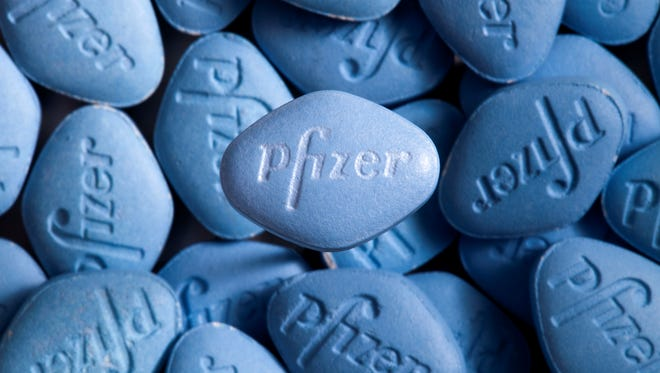 This undated photo provided by Pfizer shows Viagra pills.