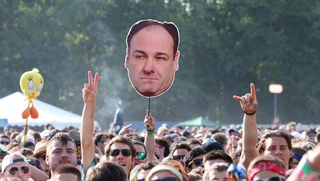 Concertgoers display a photo of James Gandolfini at the Firefly Music Festival at The Woodlands on June 22, 2013 in Dover, Del.