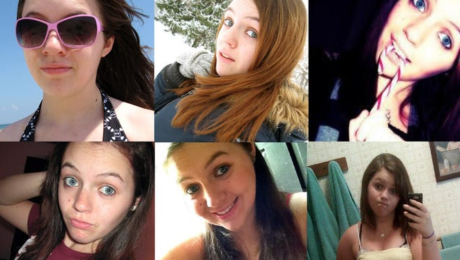 """This combo image of six undated images shows self-portraits taken by Nikki Anderson, 19, of Massachusetts. The practice of freezing and sharing our tiniest slices of life in """"selfies"""" has become so popular that the granddaddy of dictionaries, the Oxford, is monitoring the term as a possible addition."""