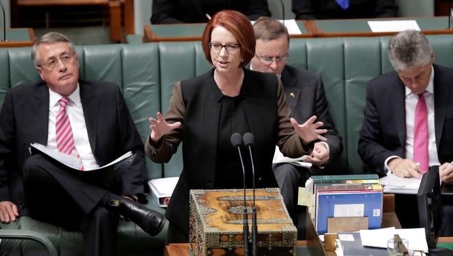 Australian Prime Minister Julia Gillard speaks in parliament in Canberra on Wednesday.