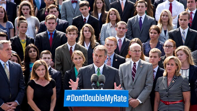 With a backdrop of college students, Speaker Boehner talks about the politics of federal student loan rates which doubled on July 1.