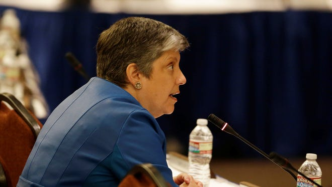 Former Homeland Security Secretary Janet Napolitano speaks at a University of California Board of Regents meeting after being elected president of the UC system Thursday, July 18, 2013 in San Francisco.