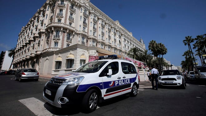 A view of the Carlton hotel in Cannes, southern France, the scene of a daylight jewelry raid on Sunday.