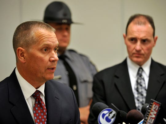 Lt. Robert Bartal  of the Pennsylvania State Police speaks at a press conference at the Monroe County Pubic Safety Center on the shooting at the Ross Township Municipal Building that left 3 dead and 3 injured, Monday, in Stroudsburg,  Pa.