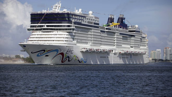 The Norwegian Epic arrives at the Port of Miami on July 7, 2010.