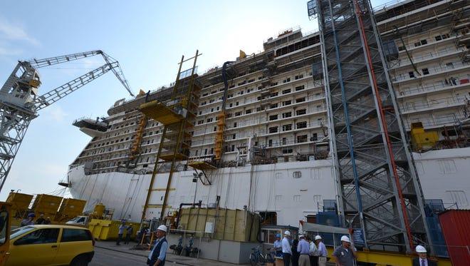 The 3,600-passenger Royal Princess under construction at the Fincantieri shipyard in Monfalcone, Italy.