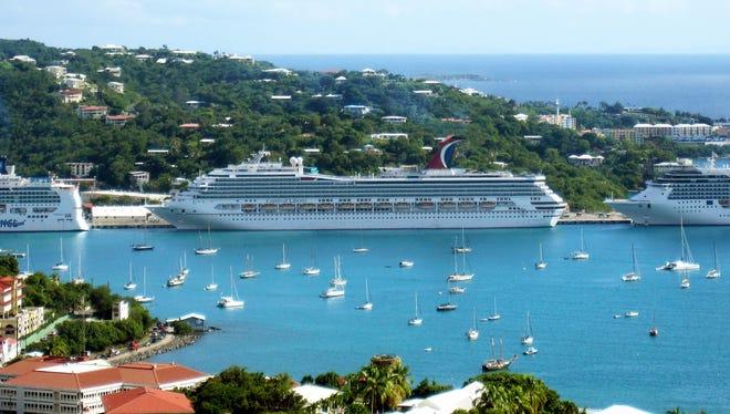 Cruise ships docked at Charlotte Amalie in St. Thomas.