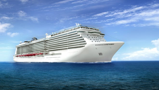 An artist's drawing of Norwegian Cruise Line's 4,000-passenger Norwegian Getaway. The ship is scheduled to debut in January 2014.