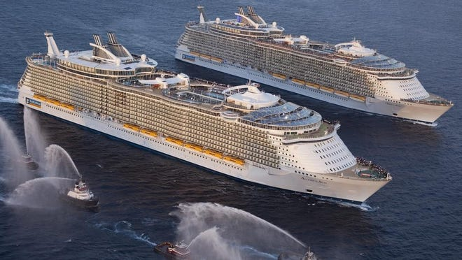 Royal Caribbean sister ships Oasis of the Seas and Allure of the Seas meet for the first time in November 2010.