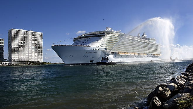Royal Caribbean's 5,400-passenger Allure of the Seas pulling into Port Everglades in Florida.
