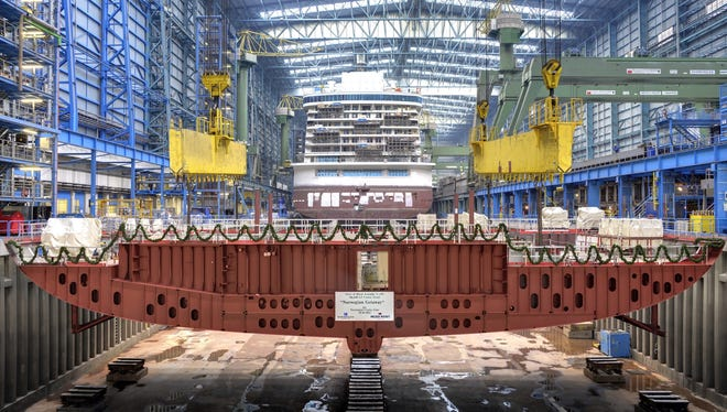The first of 73 blocks that will make up Norwegian Cruise Line's 4,000-passenger Norwegian Breakaway is laid into place at the Meyer Werft shipyard in Papenburg, Germany on Oct. 30, 2012.