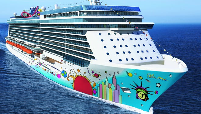 The 4,000-passenger Norwegian Breakaway, with an exterior designed by Peter Max.