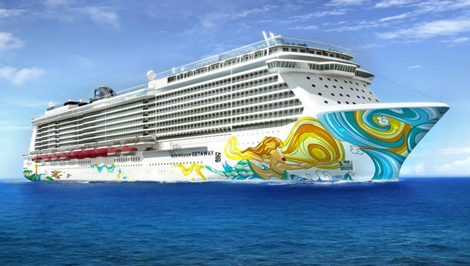 The Norwegian Getaway, featuring hull art by Lebo.