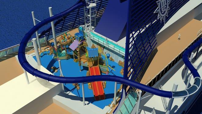 A rendering of the Vertigo water slide on the MSC Preziosa.