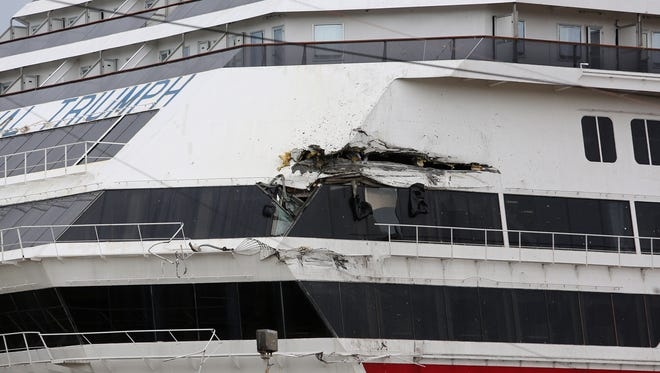 The Carnival Triumph suffered damage on April 3, 2013 after breaking free from its moorings at a repair yard in Alabama.