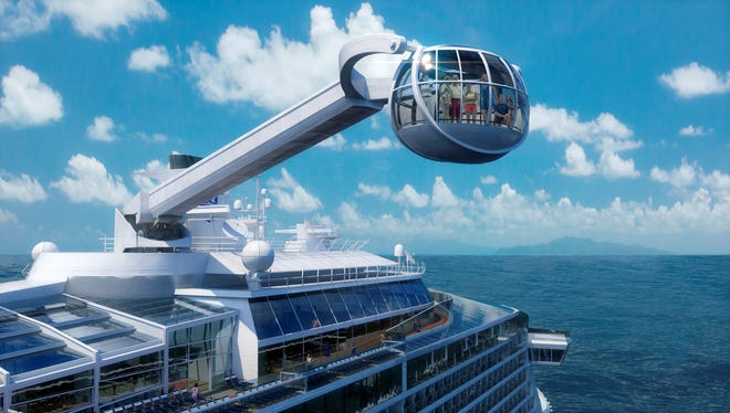 "<p class=""MsoNormal"">Next Royal Caribbean ship to feature gee-whiz ride: Royal Caribbean's next ship will feature a giant mechanical arm that transports passengers high above the vessel in a glass capsule. Dubbed the North Star, the unusual contraption aboard the line's Quantum of the Seas will give about 14 passengers at a time a panoramic view of the ship and its surroundings.</p>"