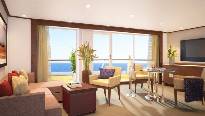 The living room of a Penthouse Spa Suite planned for Seabourn Cruise Line's Seabourn Quest, as shown in an artist's drawing.