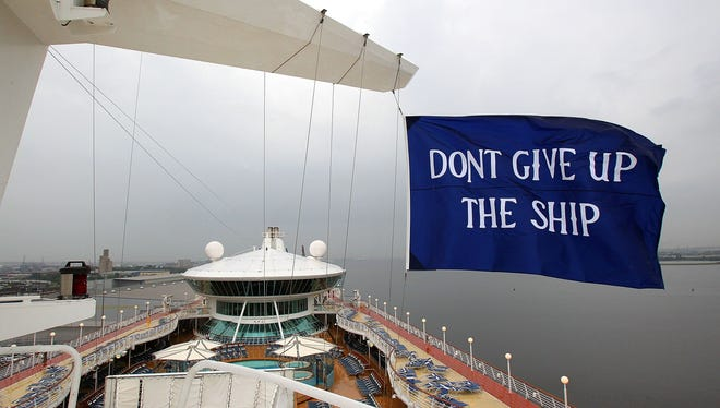 """The U.S. Navy's famed """"Don't Give Up The Ship"""" flag flies over Royal Caribbean's Grandeur of the Seas."""