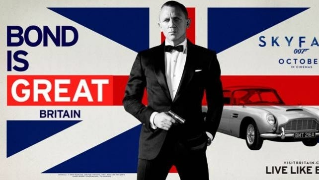 A new Visit Britain ad campaign reminds tourists that Britain is home to the legendary spy.