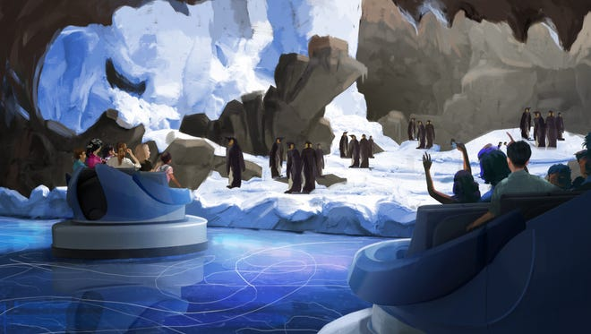 A rendering of SeaWorld Orlando's new ride, Antarctica – Empire of the Penguin. The attraction will open in the spring.
