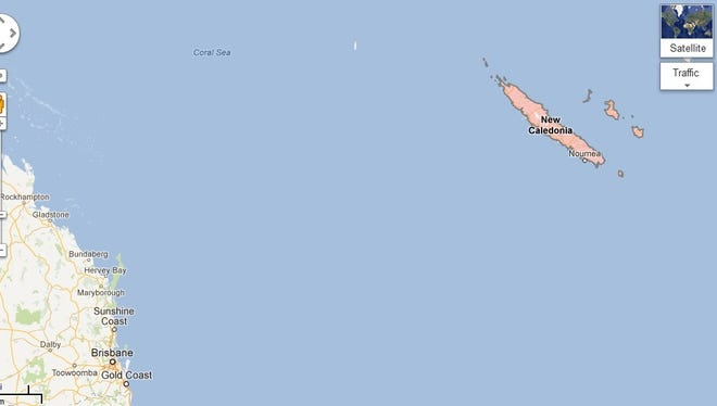 Australian scientists say an island that appeared on Google Maps between Australia and New Caledonia doesn't really exist.
