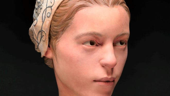 A forensic facial reconstruction of Jane, a 1609 arrival at Jamestowne, the first permanent English colony in the New World. The model is part of a new exhibit that opens May 3.