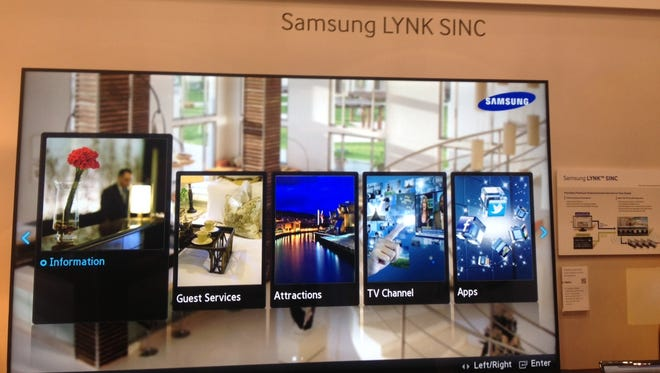 Samsung TVs give hotel guests the option of logging onto their social media accounts, requesting guest services and browsing local attractions.