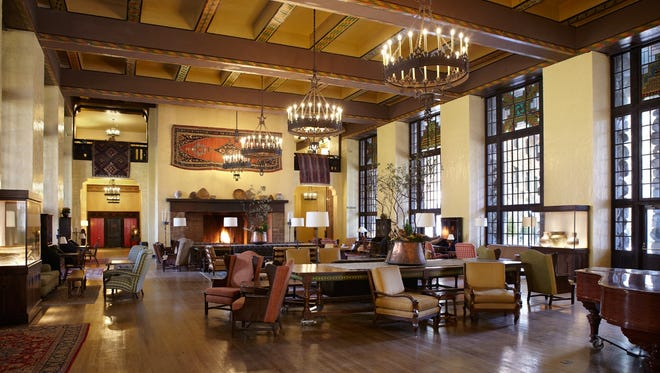 Ahwahnee's Great Lounge features a 24-foot-high beamed ceiling, stained-glass windows, and two massive stone fireplaces.
