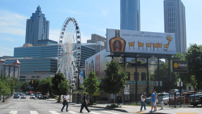 The 200-foot-tall SkyView Atlanta Ferris wheel is located in Centennial Olympic Park and provides passengers a unique skyline view of the city.