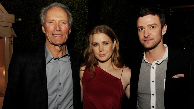 """Clint Eastwood, Amy Adams and Justin Timberlake pose at the after party for the premiere of  """"Trouble with the Curve."""""""
