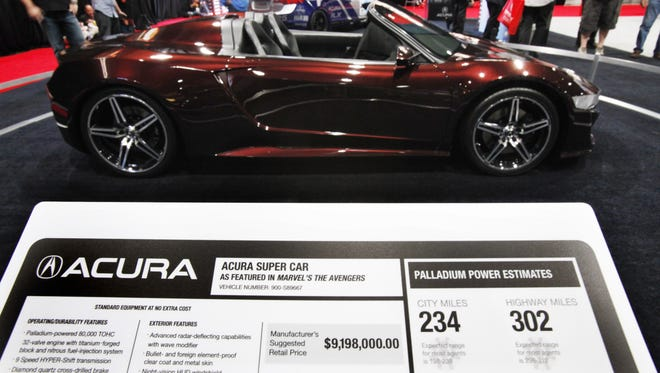 Acura displayed the Acura Supercar which was featured in the movie Avengers. The usual placard with MSRP and EPA figures, played along with the supposed capabilities of the car as well as it's price.