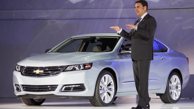 Mark Reuss, president of General Motors North America, introduces the newly unveiled 2014 Chevrolet Impala at the New York International Auto Show.