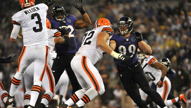Ravens linebacker Paul Kruger was flagged for a personal foul that gave the Browns a second shot to tie the game.
