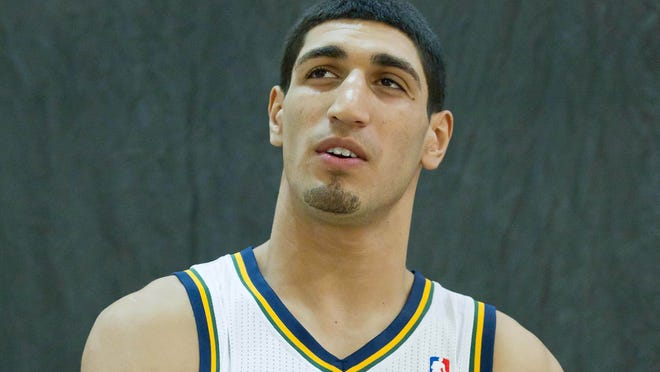 Utah Jazz forward Enes Kanter poses for a portrait during media day at the Zions Bank Basketball Center.