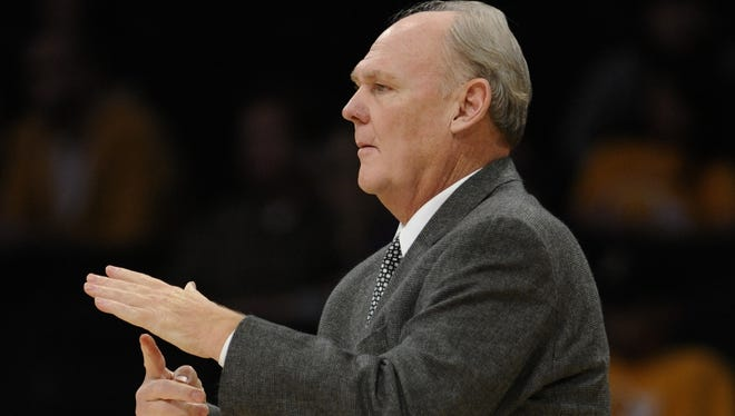 Denver head coach George Karl calls a timeout during a game in 2010. Karl recently talked about his dislike of the Los Angeles Lakers.