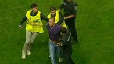 A fan attacked a lineman on the field during a soccer match in Ukraine.