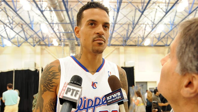 Clippers forward Matt Barnes is interviewed at the Playa Vista Training Center during the team's media day.