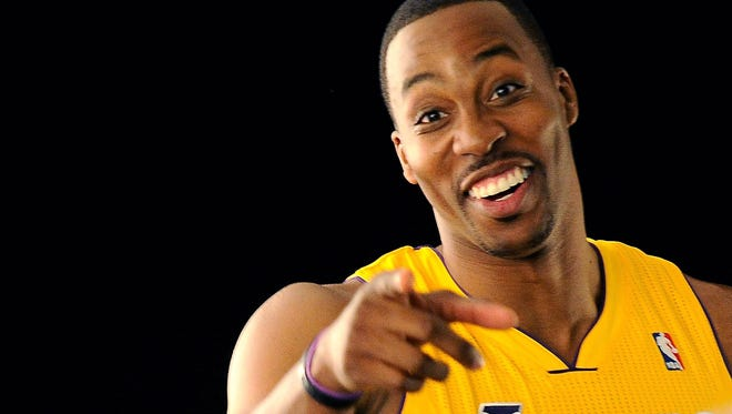 Lakers center Dwight Howard makes funny faces sometimes.