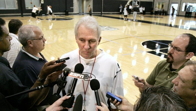 Gregg Popovich talks with media at end of practice at the Spurs' practice facility in San Antonio, Texas.
