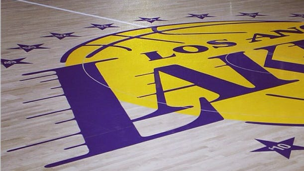View of the new Los Angeles Lakers floor at Staples Center.
