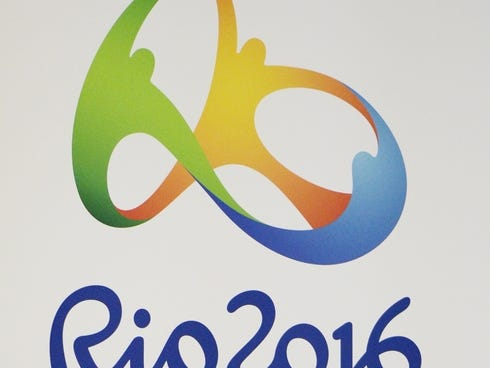2016 and olympic rings logo during a press conference for the rio 2016