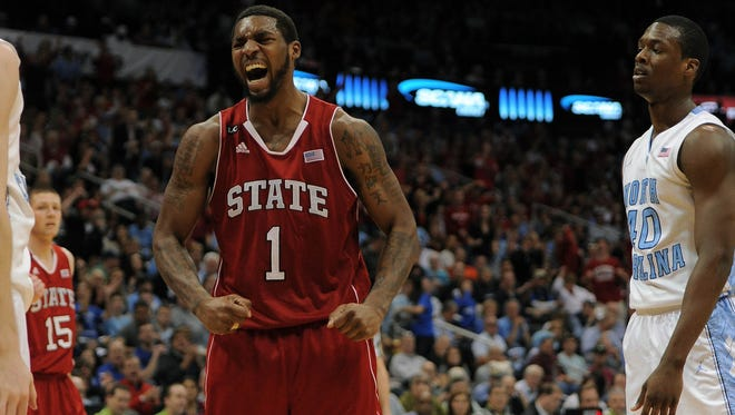 ORG XMIT: USPW-78632 Mar 10, 2012; Atlanta, GA, USA; North Carolina State Wolfpack forward Richard Howell (1) reacts after scoring against the North Carolina Tar Heels in the second half during the semi-finals of  the 2012 ACC Men's Basketball Tournament at Philips Arena. Mandatory Credit: Bob Donnan-US PRESSWIRE ORIG FILE ID:  20120310_rvr_sd2_418.jpg