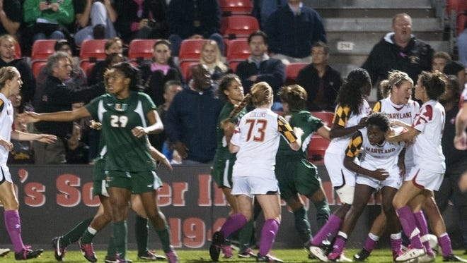 A brawl took place at the end of Thursday's game between Maryland and Miami.