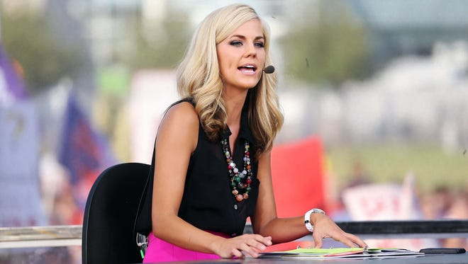 Samantha Steele, above, took over on 'College GameDay' after Erin Andrews' departure.