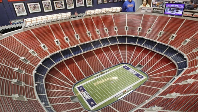 Lifelong New York Giants fan Don Martini created a 20 foot by 17 foot replica of old Giants Stadium in his Blairstown, New Jersey garage.
