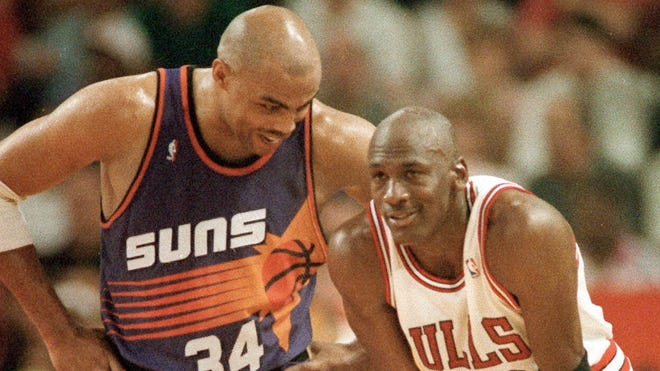 Charles Barkley and Michael Jordan are shown during the NBA Finals in 1993.